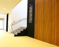 Pôle de santé d'Argentan: habillage de la cage d'escalier